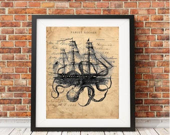 Octopus kraken attack tall ship ocean sea nautical beach decor 1800 antique ledger paper vintage print rustic wall hanging gift OAS3028