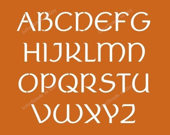 ancient celtic letter stencils a z alphabet set choose uppercase lowercase or both 12 to 6 inch sizes available item codeet27