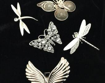 Butterfly Pins Lot of 5: Vintage 50's- 70's                                                             VGO751