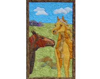 Horses  is a quilted applique pattern for a wall hanging