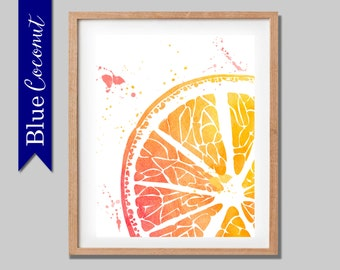 orange poster print kitchen art print hot orange vibrant art poster Gin art print kitchen art print large print- watercolour print