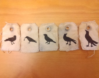 Primtive Grungy Crow decorative gift tags set of five