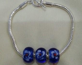 Munaro Glass Lampwork Bead Charm Bracelet
