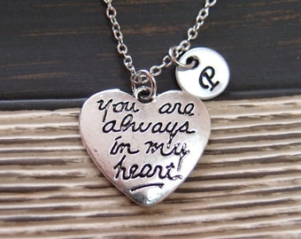 initial necklace, You Are Always in My Heart necklace, Best Friend necklace, heart charm, boyfriend girlfriend necklace, his hers necklace