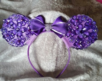 Purple sparkle mouse ears headband with bow
