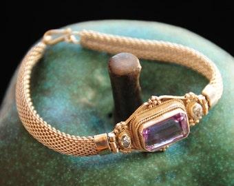 Brazilian Baguette Cut Amethyst Bracelet.  Brazilian Oval Cut Topaz Bracelet.  Sterling Silver. Vintage. One-of-a-Kind Bracelet.