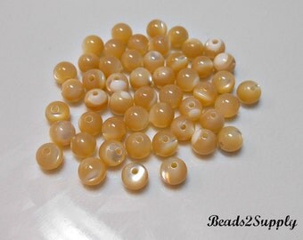 50 Natural Mother of Pearl Round Beads, 4mm Gemstone Round Beads, Supplies, Jewelry Supplies, Jewelry Making, Craft Supplies