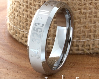 Latitude Longitude Band Any Coordinates Location Tungsten Wedding Band Ring Customized Laser Engraved Ring Unique New Modern Classic Ring