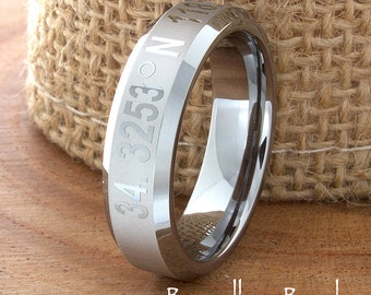 Coordinates Ring Band Any Coordinates Location Tungsten Wedding Band Customized Beveled Laser Engraved Ring Unique New Modern Classic 6mm