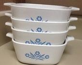 4 Corning Ware P-43-B petite pans blue cornflower 2 2/4 cup pans