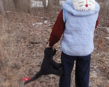 Kids vest hand knit soft spring outdoor jacket handmade kitty cat