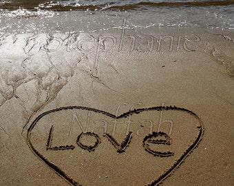Love Sand Script Blank Greeting Card 4 x 5