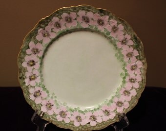 Hand Painted Plate of Green with Pink Poppies