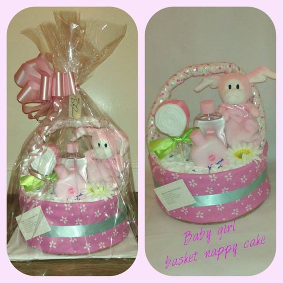 Nappy cake Baby girl baby shower nappy cake basket new baby / mum gift with baby products, nappies and teddy **OFFER**