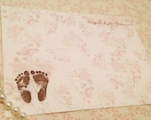 Baby Girl Footprints Thank You Note Cards- set of 10