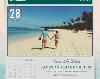 Calendar Save the Date Card Template