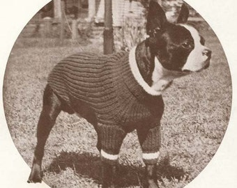 Knit Dog Puppy Blanket Sweater Coat Knit Knitting Pattern PDF Boston Terrier  Instant Download