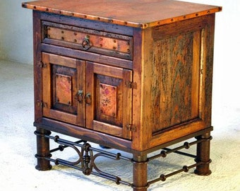 Reclaimed Copper End Table Or Nightstand With Pablo Base