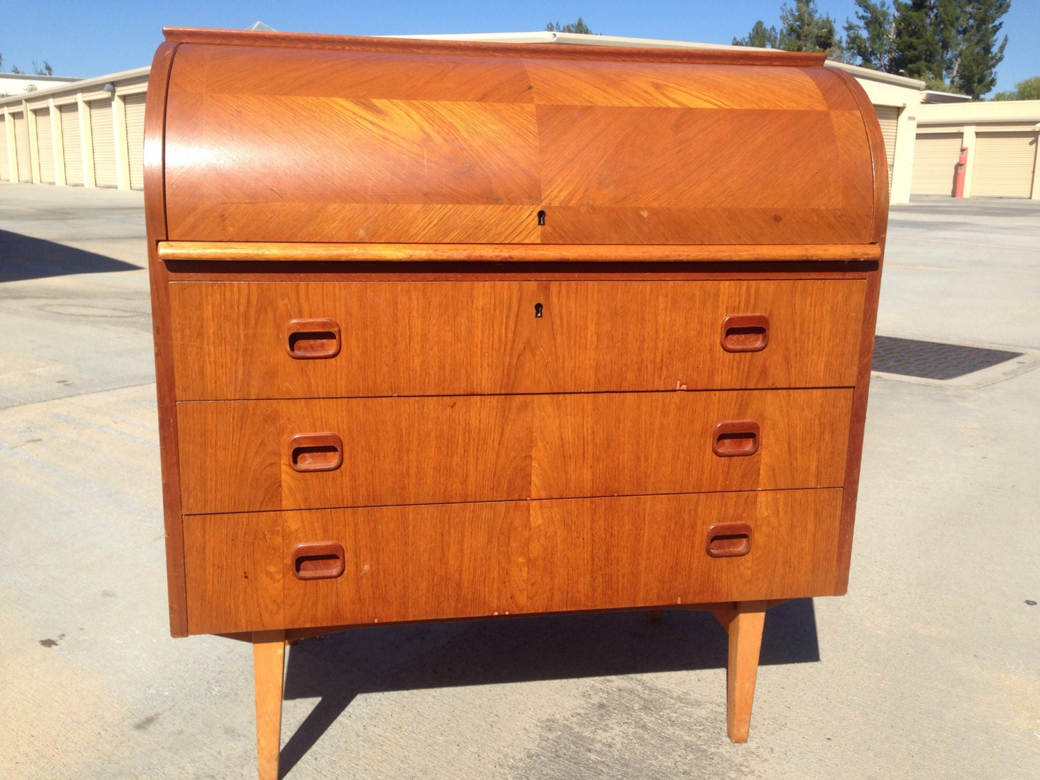 mid century modern swedish design roll top desk with 3 by luxepop. Black Bedroom Furniture Sets. Home Design Ideas