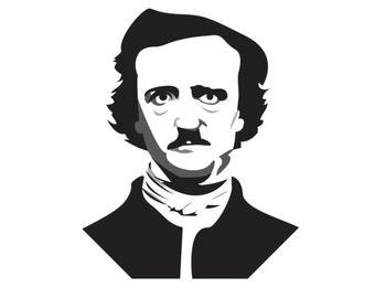 Black and white print of poet Edgar Allen Poe