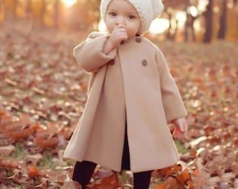 Wool Coat, Pea Coat, Trench Coat, Long Coat, Tan Button Pea Coat