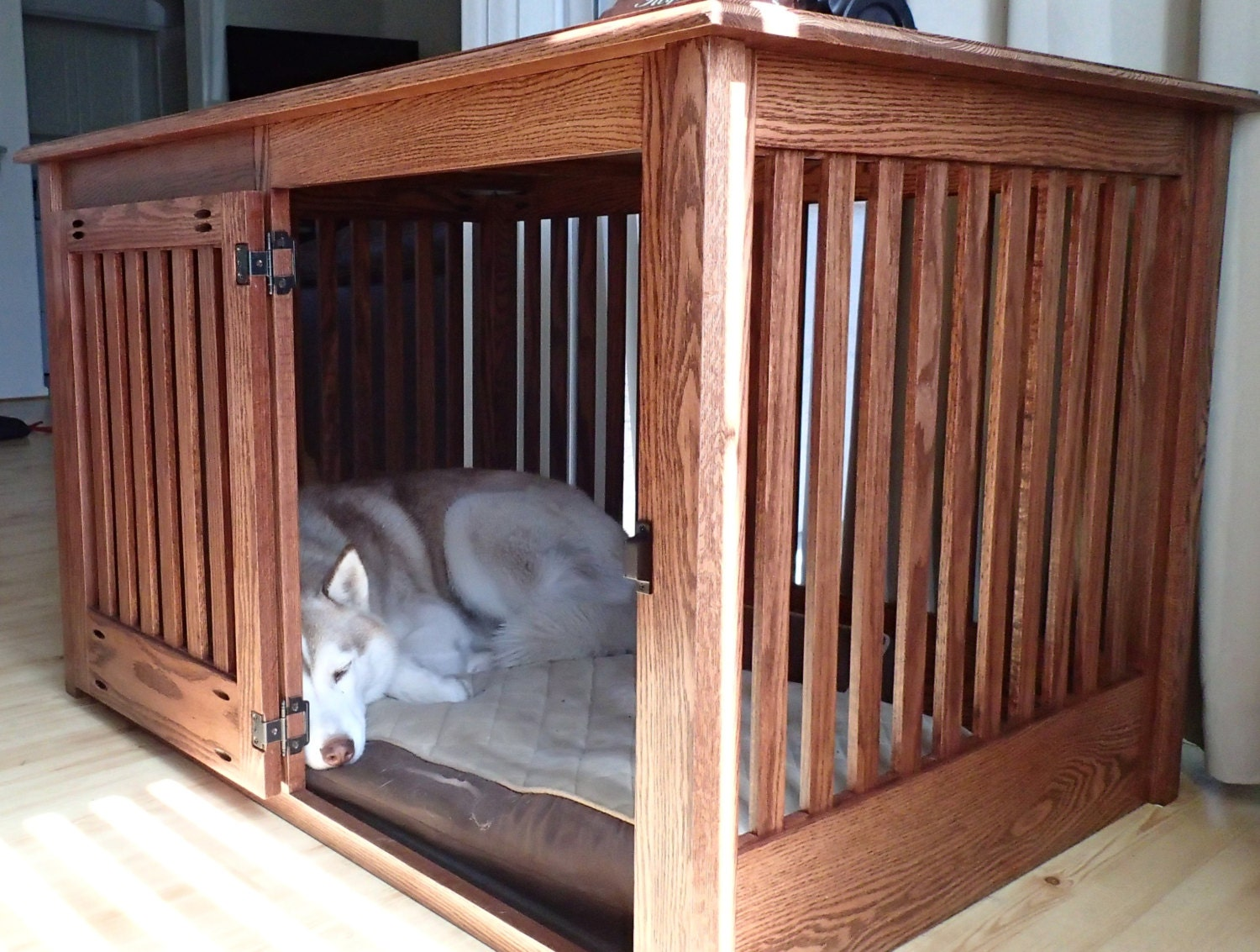 Extra large side entry wood dog crate furniture by huntridgeranch Wooden crates furniture