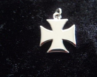 Iron Cross Pendant handmade in sterling silver