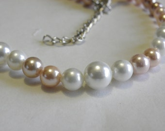 Necklace beads culture polished natural undyed beads pink and white gradient