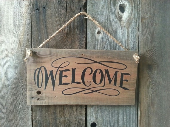 Welcome To Raj Trading Co: Items Similar To Salvaged Wood Welcome Sign With Twine