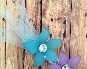 Hair clip -  flower with crystal  hair clip - comet clip