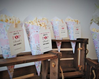 Baby shower for baby girl. 20 Personalised popcorn or sweet cones