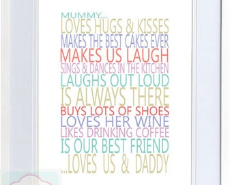 Mummy Loves.... Typography Print - Perfect for Mother's Day - Gift