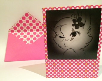 Anime Kissy Cat Colorful Blank Notecards.  Set of 5 with matching inside patterned envelopes.  Artwork by Lexa Anderson