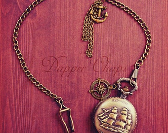 Sailor Pocket Watch with Ship Vintage Inspired Men's Compass and Anchor decoration bronze plated with chain for men's waistcoat
