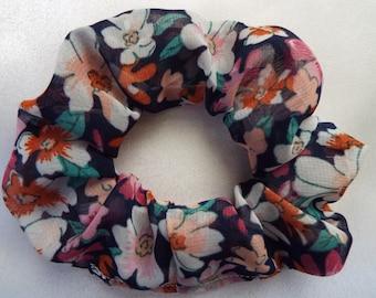 Pink floral chiffon hair scrunchie