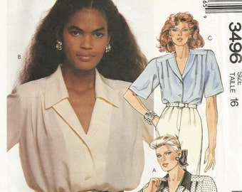3496 Free US Shipping Uncut Factory Folded Vintage 1980's McCall's Women's Blouse Size 16 Sewing Pattern Destash