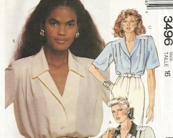 Plus Size Blouse, Blouse, Women's Blouse, Sewing Pattern, Blouse Pattern, Plus Size 16, Vintage, McCall's, Uncut Pattern, FREE SHIPPING 3496
