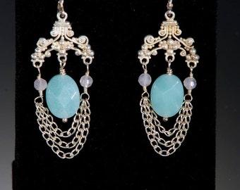 Soft spring colors! Bali silver chain drape earrings feature faceted quartz.
