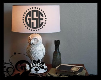 Personalized Monogram for Your Lamp Shade - Circle Initals; vinyl decals