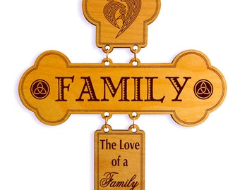 Family Decorative Cross, Custom wall Crosses, Christian Gift, Wedding / Anniversary gifts, The Love for Family Wall Decor, Wood Wall Sign.