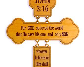 John 3.16  Decorative Wall Cross,For God so Loved the World, Christian Inspiration Gift, Religious Family Gift, Grand Parent Gift.