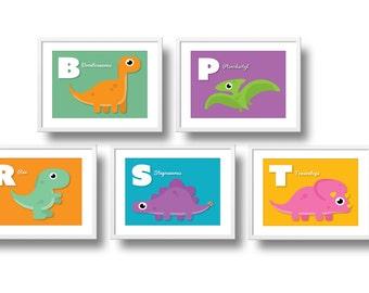 Baby Dinosaurs, ABC Nursery Wall Art, Dinosaur Nursery Decor