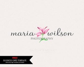 Logo design - Watercolor logo - premade logo - lily logo