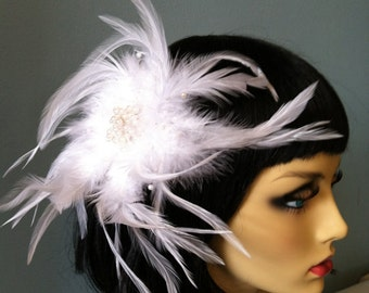 White Feather Beaded Fascinator