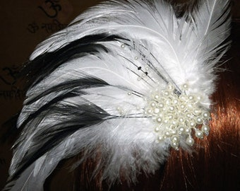Black and White feathered headband