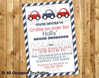 Car Invitation;  Digital File ; Printable Car invitation