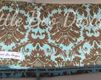 Super Soft Minky Neutral Baby Blanket Turquoise Brown Damask Print