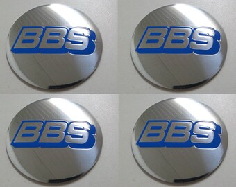 Set of 4 - car wheel center cap stickers - BBS Domed Chrome&Blue