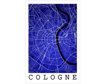 Cologne Street Map, Cologne Germany, Modern Art Print, Cologne Map, Cologne Poster, Cologne Decor, Cologne Gift Idea, Cologne Wall Art