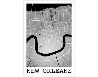 New Orleans City Street Map, New Orleans Louisiana USA, Modern Art Print,  New